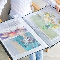 2 stücke A2/4K 20/40 Seiten Multi Tasche Sammlung von Skizze Gemälde Kalligraphie Poster Ordner Papier Organizer Broschüre transparent
