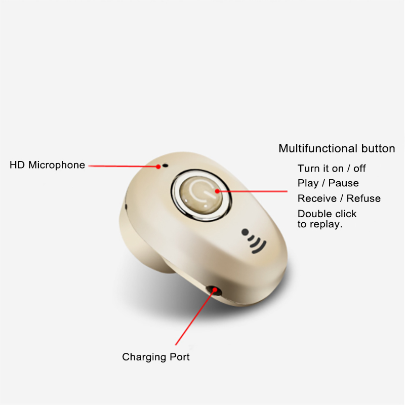 Mini Invisible Ture Wireless Earphone Noise Cancelling Bluetooth Headphone Handsfree Stereo Headset TWS Earbud With Microphone