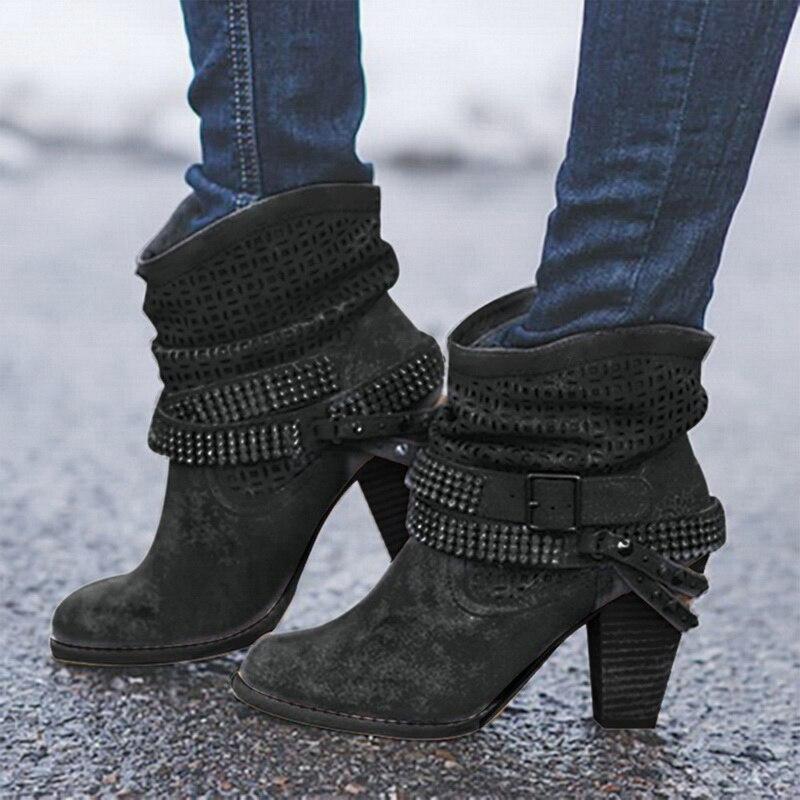 Image 2 - Litthing/зимние ботинки; женские полусапожки на высоком каблуке с заклепками и кристаллами; повседневная женская обувь из искусственной кожи с пряжкой; Botines Mujer; 2019-in Полусапожки from Обувь
