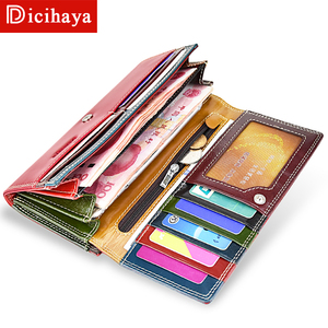 Image 4 - DICIHAYA Wax Oil Leather Women Wallet Genuine Leather Lining Purse Brand Design Clutch Money Bag Ladies Coins Holder Phone Bag