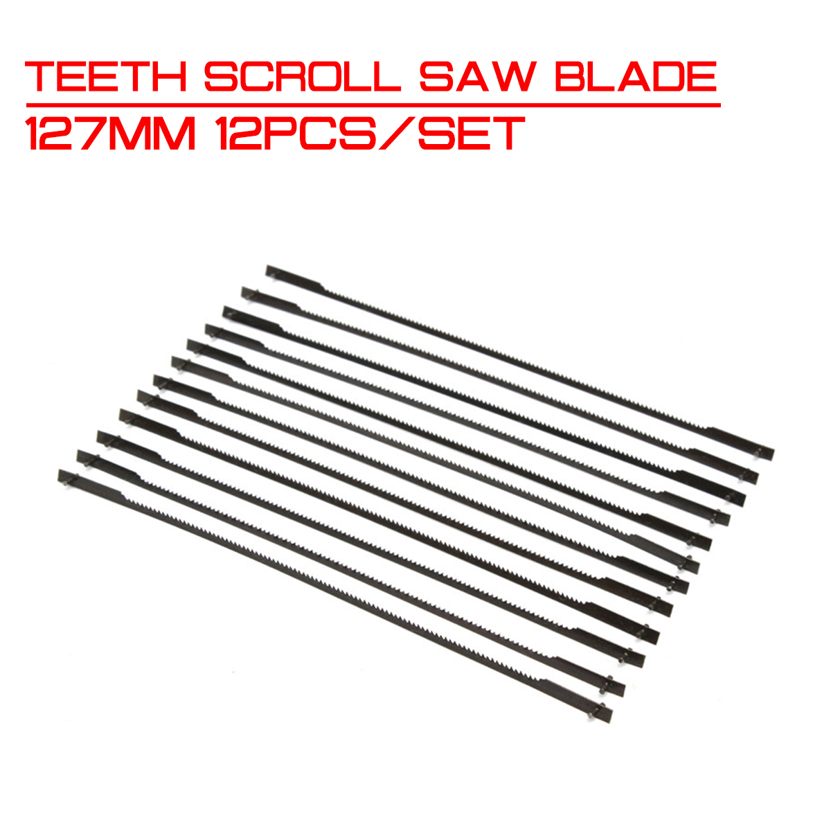 127mm 12Pcs/set Teeth Scroll Saw Blade Woodworking Power Tool Accessories Black for Cutting Wood image