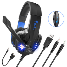 Professional Gaming Headphone Led Light Bass Stereo Noise Reduction Mic Gamer headset For PS4 PS5 Xbox Laptop PC Wired Headset