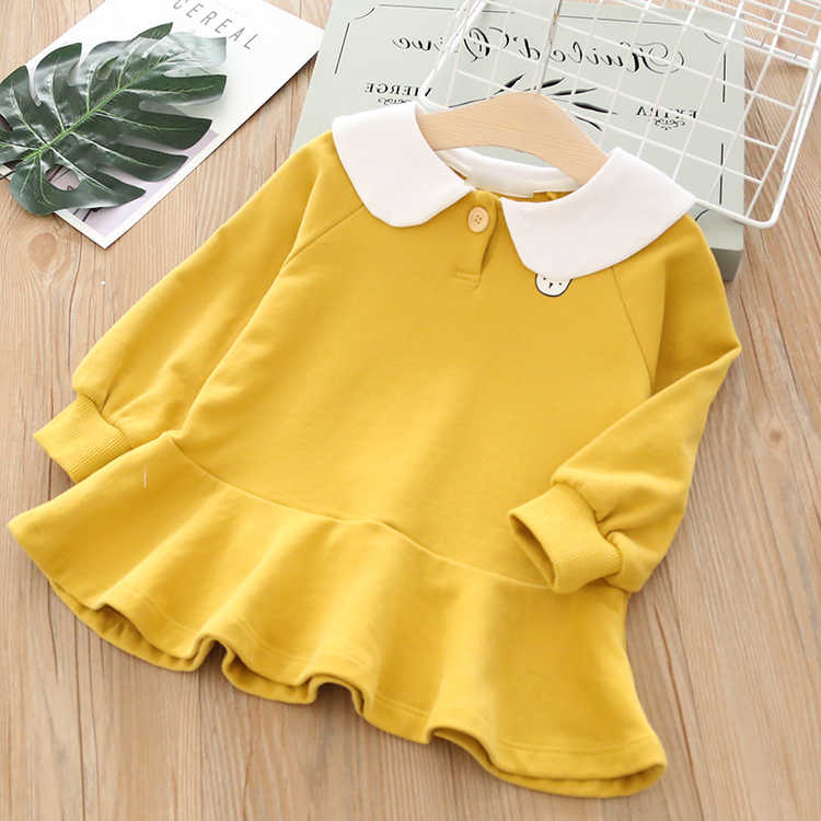 Toddler Baby Girls Long Sleeve Princess Party Dress 2019 Autumn Pageant Lovely Red Color Casual Dresses Kids Clothes