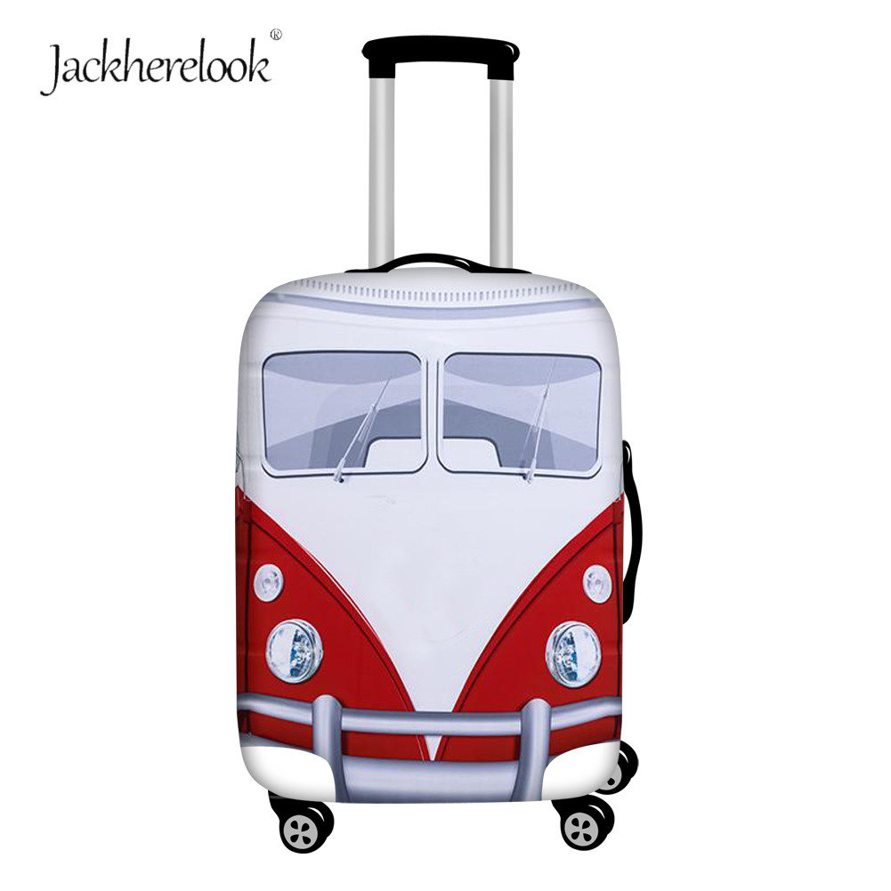 Jackherelook Vintage Van Bus Print Luggage Bag Cover Hippie Bus Design Suitcase Dirty Anti Sheet Trolley Cases Box For 18-32Inch