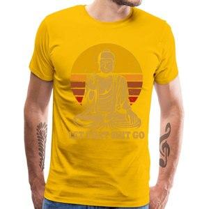 Винтажный стиль Топы футболки Let That Shit Go 100% хлопковые футболки мужские футболки Футболка Будда взрослая Мужская футболка хип-хоп Camiseta