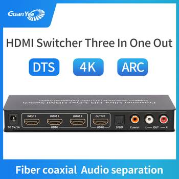 Hdmi switcher3X1 3D HD4K 3 Ports HDMI Adapter Splitter for PS4 Projector Xbox Laptop with audio separation hdmi video switcher