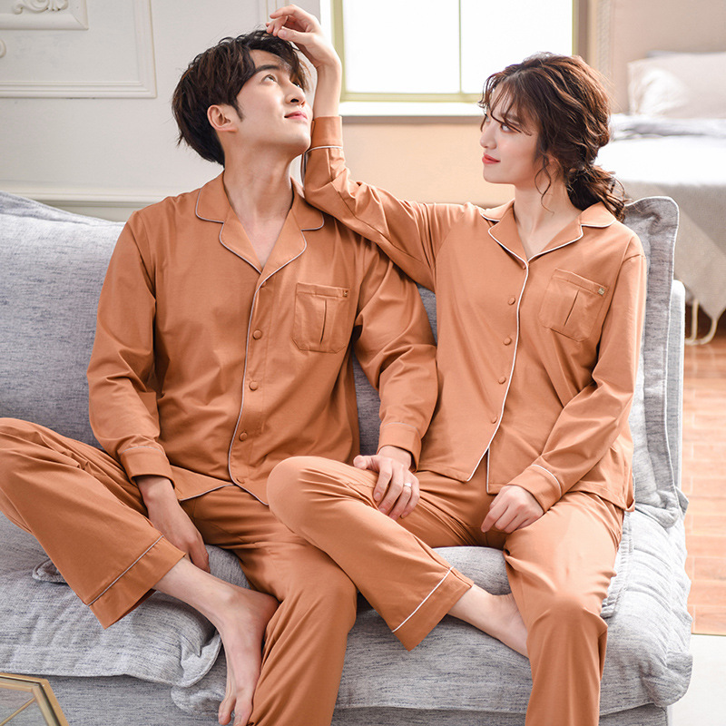 Caramel Couples Pajamas Women's Spring And Autumn Long Sleeve Pure Cotton Loose Autumn And Winter Cotton Tracksuit Men Two-Piece
