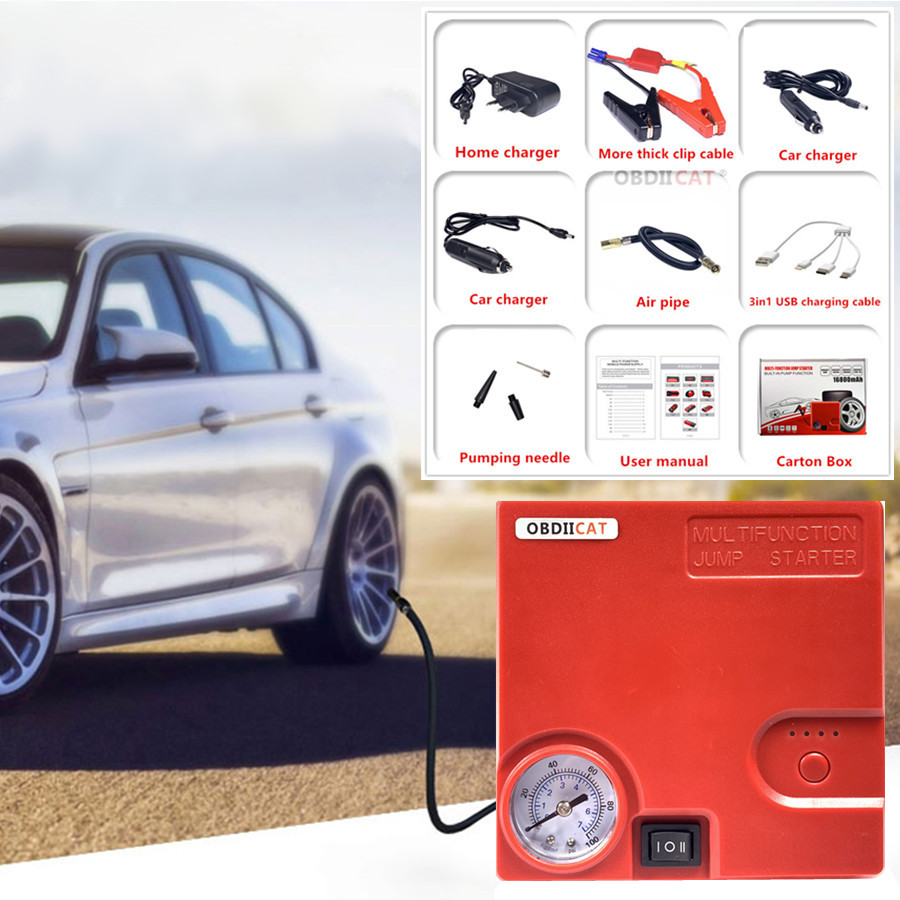 Car Jump Starter TM16C Air Pump Portable Starting Power Bank Car battery Charger Booster Inflatable Pump Petrol/Diesel Car