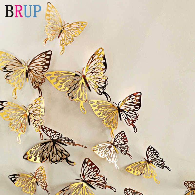 12Pcs/lot New 3D Hollow Golden Silver Butterfly Wall Stickers Art Home Decorations Wall Decals for Party Wedding Display Shop