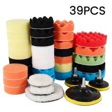 39 Pçs/set Kit Kit Odomy Tampão Almofada de Espuma Esponja Almofadas de Polimento De Carro Cera Máquina De Polimento Pads para Remove Arranhões 2021 Novo