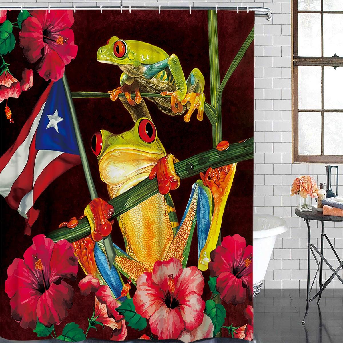hibiscus tree trunk puerto rico flag frog bathroom shower curtain modern household shower curtain