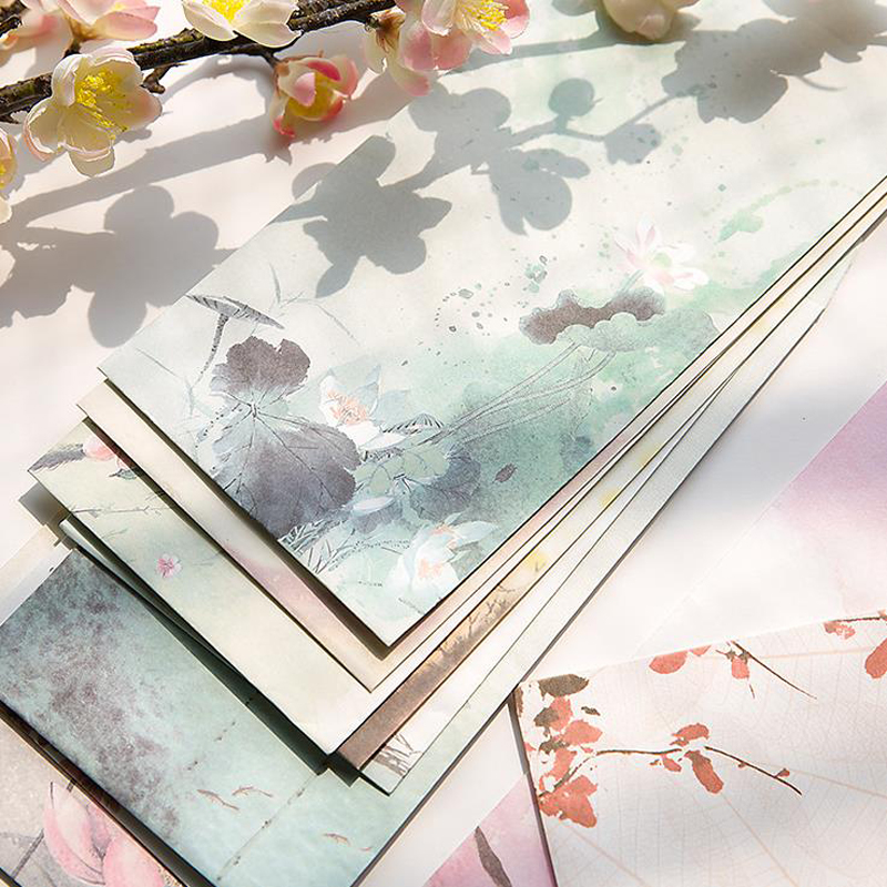 5 Pcs/set Vintage Chinese Style Landscape Flower Lotus Paper Envelopes Postcards Greeting Card Cover Stationery School Gifts
