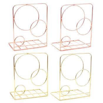 2 sztuk okrągłe metalowe pulpit Bookends książka kończy podpórka uchwyt półka Bookrack tanie i dobre opinie ZHUTING J6PA5AC1102231-GD Iron app 13x10x20cm 5 12x3 94x7 87in 2 Pcs