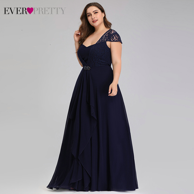 Plus Size Lace Mother Of The Bride Dresses Ever Pretty EP07986NB A-Line Sweetheart Cap Sleeve Kurti Dinner Gown Abito Sposa 2020 3