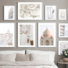 Mosque Tower Library Rose Girl Colosseum Rome Wall Art Canvas Painting Nordic Posters And Prints Decor Pictures For Living Room