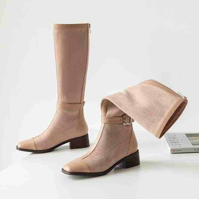 Krazing Pot karışık renkler inek deri streç akın kare ayak med topuklar toka sapanlar kış sıcak kadın uyluk yüksek çizmeler l2f1