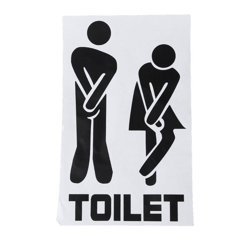 LIXF Funny Toilet Door Sign Sticker Door Decal Bathroom Door Decoration Black