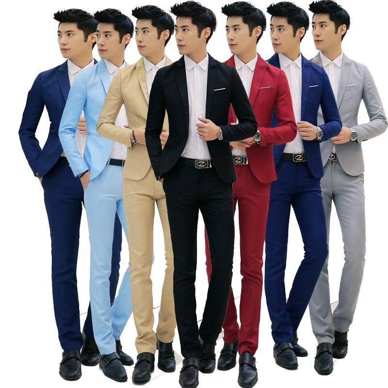 MEN'S Suit Set Korean-style Slim Fit Casual Suit Men's Business Formal Wear Marriage Formal Dress Work Clothes Full Set Whole Se