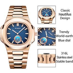Image 5 - PLADEN benzersiz izle erkekler lüks altın erkek saatler Top marka lüks paslanmaz çelik erkek moda mavi quartz saat hediyeler erkekler için