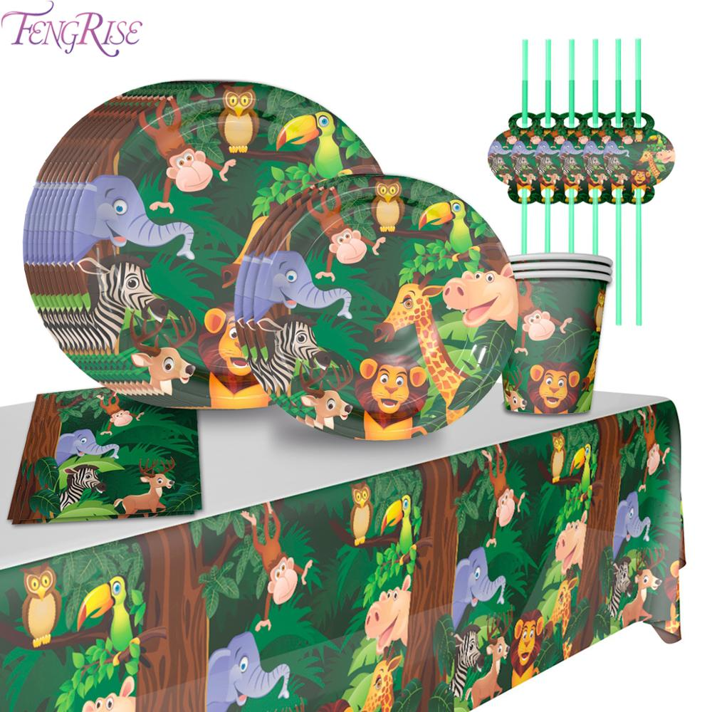 Disposable Tableware Set Jungle Animals Birthday Party Decoration Kids Safari Party Decor Jungle Party Supplies Baby Shower