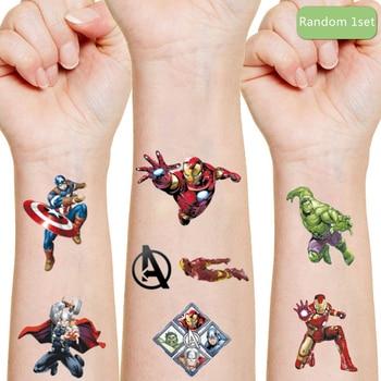 Marvel The Avengers Iron Man Tattoo Sticker Random 1PCS Action Figure Spider-Man Cartoon Kids Girls Christmas Birthday Gift