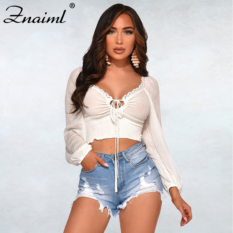 Fashion Elegant Women T-shirt Full Sleeve V-Neck Bowknot Femme Crop Tops Solid Office Ladies Streetwear Outfit Summmer Hot 2020