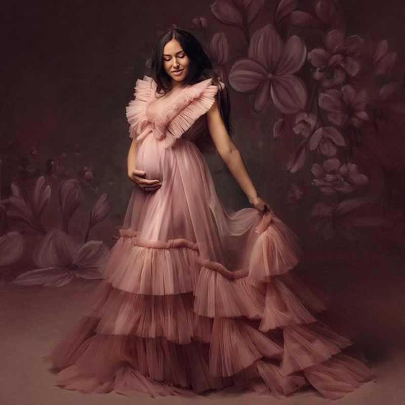 Photoshoot Pink Maternity Robes With Lining Tiered Fluffy Dusty Pink Ruffles Extra Puffy Formal Dress Robe Photography