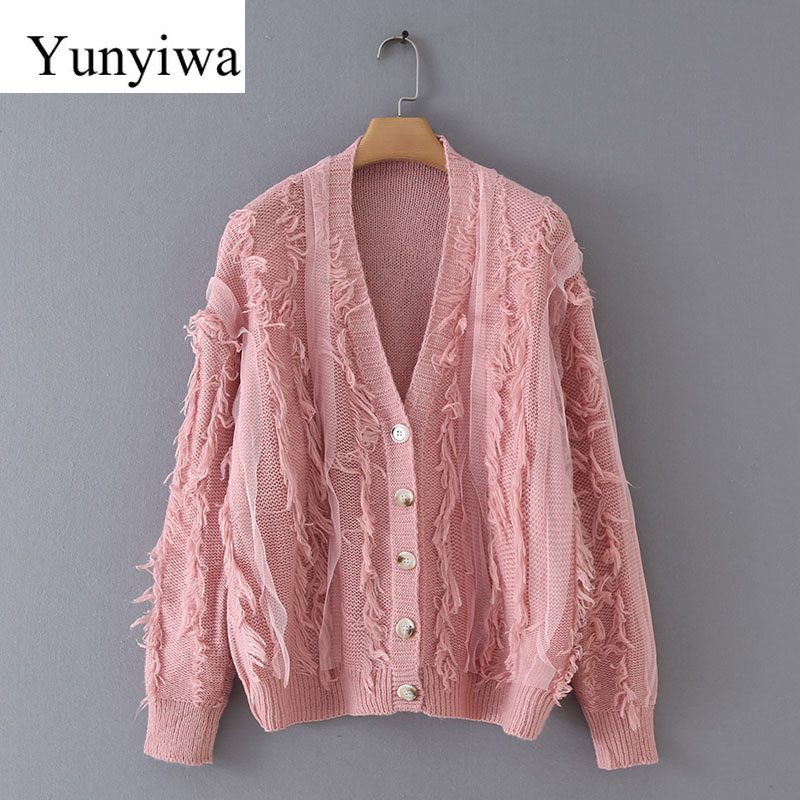 New Autumn Women Elegant Mesh Patchwork Knitted Cardigan Sweaters Ladies Chic Tassel Stitching Casual Loose Sweater Tops