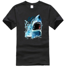 Velocitee Mens Shark Bite T Shirt Big Animal Head Face Jaws A17838