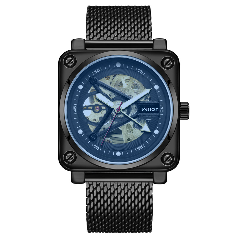 New Wrist Watch Male Waterproof Noctilucent Square Transparent Hollow Out Fully Automatic Mechanics Net Table Bring