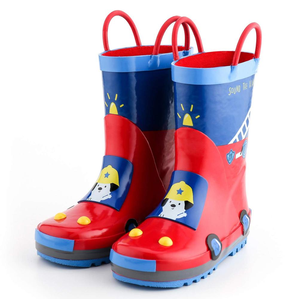 KushyShoo Rain Boots Kids  Children's Rubber Boots 3D Fire truck Printed Toddler Boy Rainboots Kalosze Dla Dzieci|Boots| |  - title=