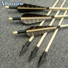 цена на 31'' Handmade Wooden Arrows 8mm for Archery Hunting Arrows with Black Turkey Feather Hunting Arrowhead Bow for Shooting
