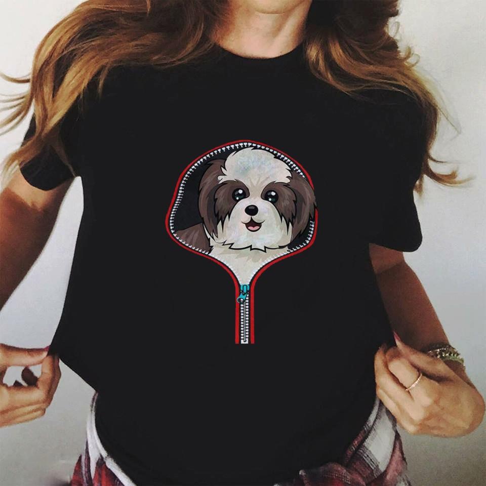 Women T-shirts Funny Dogs Printed Tee Tee Shirt Femme Harajuku Cartoon Black T Shirts Fashion Women Summer T Shirt Femme T-shirt