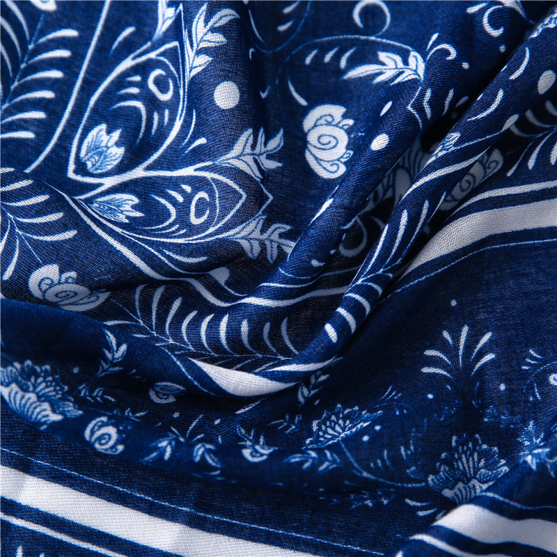 2020 Women Fashion Navy Blue Ethnic Floral Tassel Viscose Scarf Lady Print Shawls and Wraps Pshimina Stole Muslim Hijab 180*90Cm
