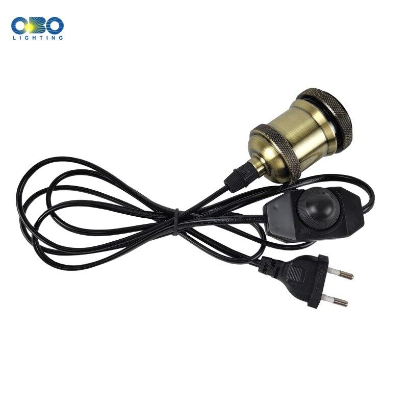 Plug Pendant Lamp Vintage Base E27 1.7m With Switch Socket Lamp Holder Hanging Light Fixtures EU/US/AU/UK Plug Dimming