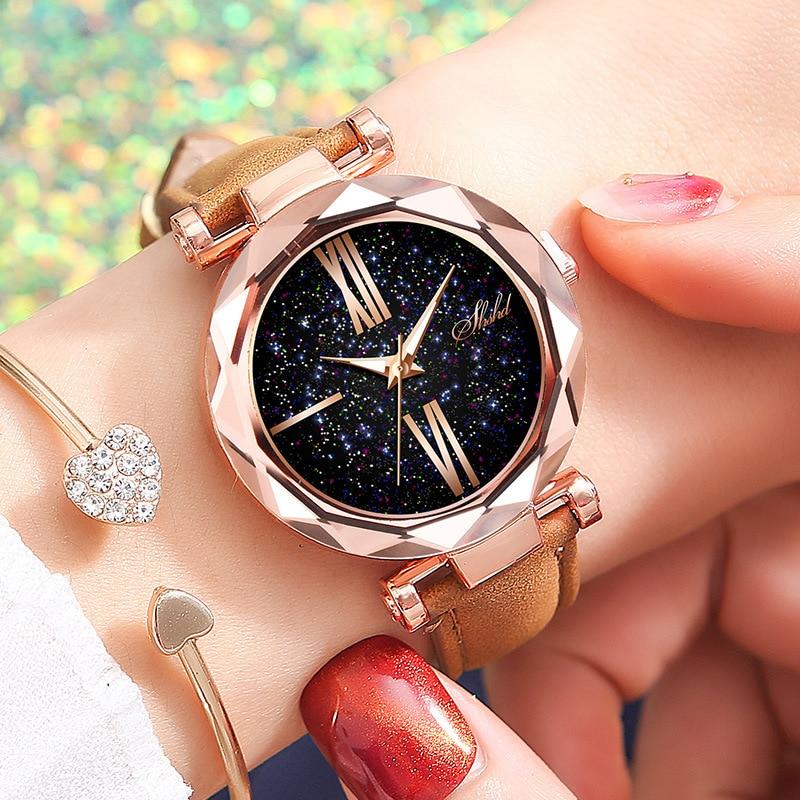 2019 женские часы Звездное небо циферблат часы Роскошные розовое золото Модные женские браслет кварцевые наручные часы