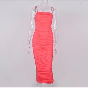 Image 5 - NewAsia 2 warstwy biała letnia sukienka kobiety 2020 elegancka Ruched Maxi sukienka różowa strona długa sukienka Sexy sukienki kobieta Party Night