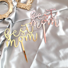 New Acrylic Happy Mother's Day Cake Topper Mum Birthday Gold Best Mom Cake Topper For Mother's Birthday Party Cake Decorations