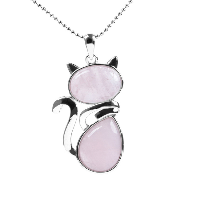 Collares de piedra Natural con forma de gato bonitos colgantes para mujer chica rosa cuarzo negro