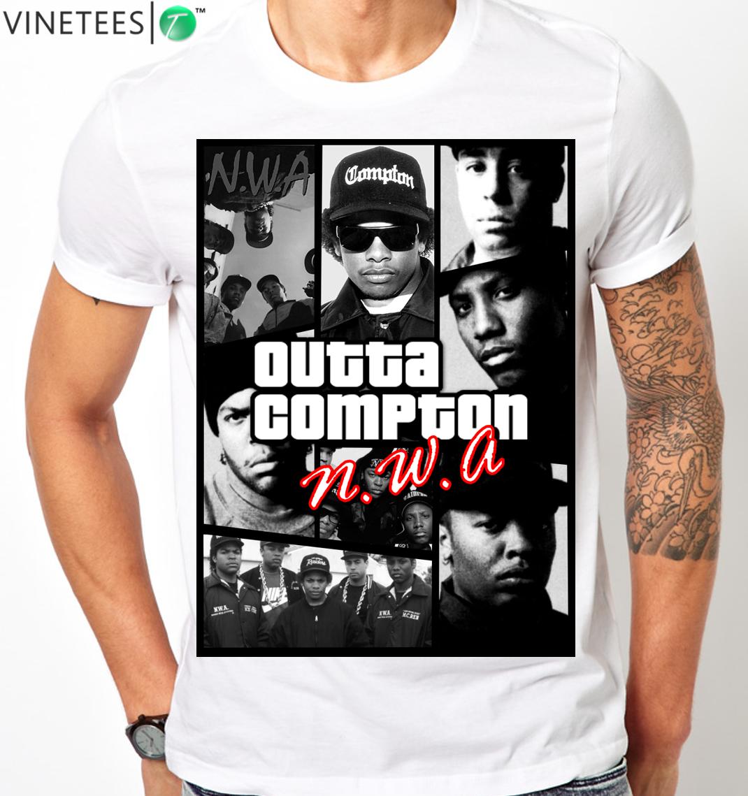 NWA Men/'s Black T shirt Dr.Dre Eazy-E Ice Cube Tee Hip-Hop Legend Ships Free T1