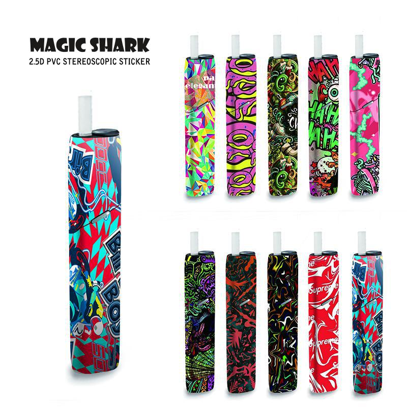 Magick Shark Painting Graffiti Sticker For IQOS3 Multi Case Skin For IQOS 3 Multi Electronic Cigarette Kit Sticker Case Cover