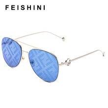 Feishini 2020 Oversized Tinted Pilot Sunglasses Women Luxury Brand