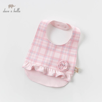 DBH12484 Dave Bella new born baby girls cute floral plaid ruched bibs infant toddler bibs image