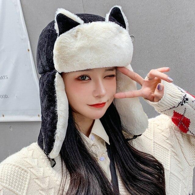 Фото ht3324 новая милая женская зимняя шапка с ушками женская толстая цена