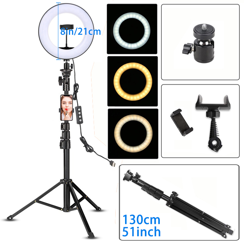 LED Video Ring Light with 51inch Tripod Stand Phone Holder