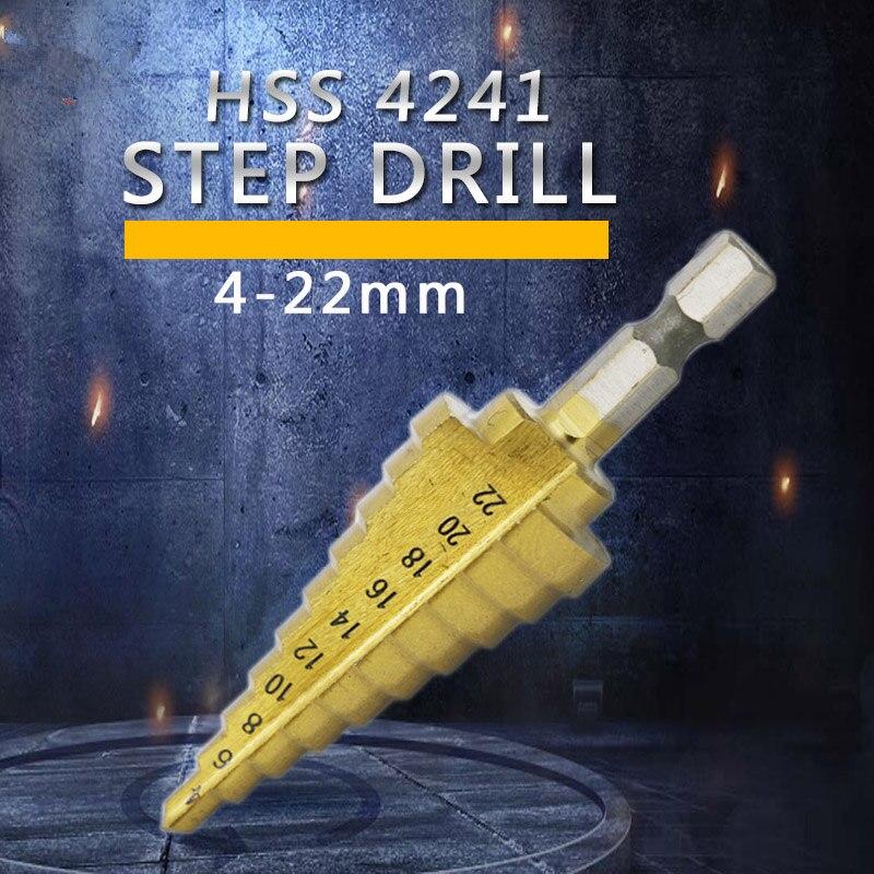Шестигранная титана шаг конуса сверла отверстие резак 4 22 мм HSS 4241 для листового металла|Сверла|   | АлиЭкспресс
