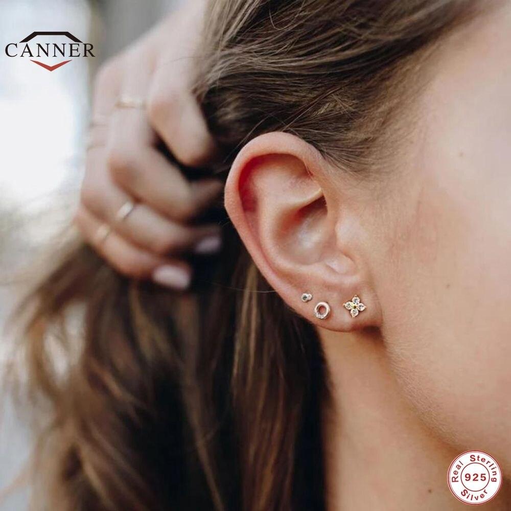 CANNER 925 Sterling Silver Stud Earrings Cute Zircon ear bone nail Mini Crystal Flower Pierced Earrings Fashion Jewelry