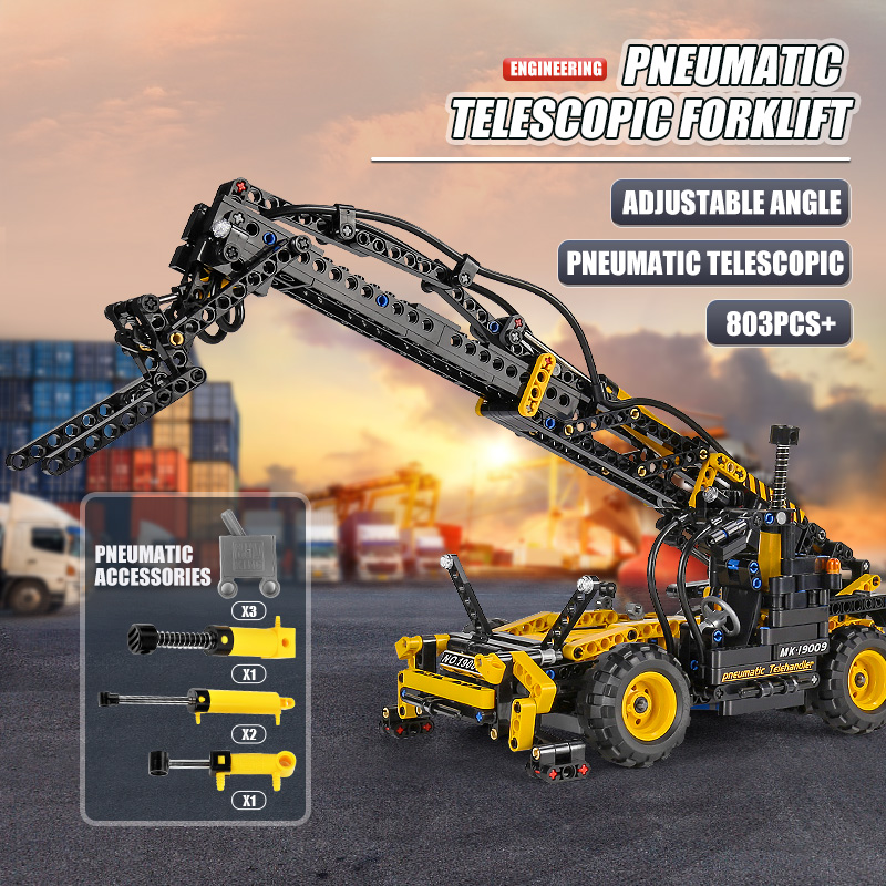 MOULD KING 19009 High-Tech Toys The Pneumatic Telescopic Forklift Model Building Blocks