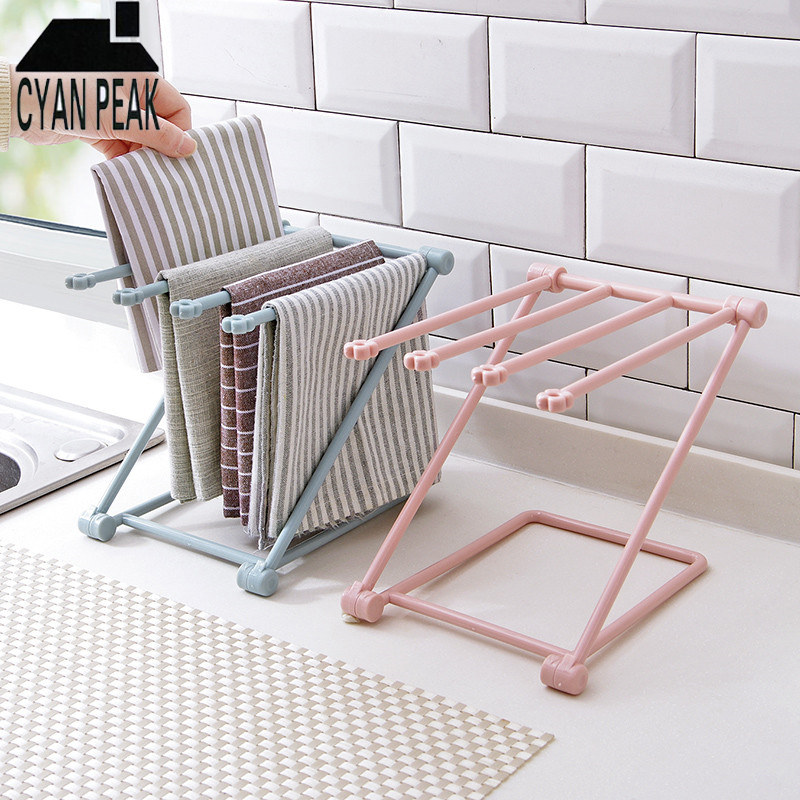 Kitchen Accessories Organizer Towel Rack Hanging Holder Foldable Storage Rack Shelf Cupboard Rag Racks Hanger Household Supplies