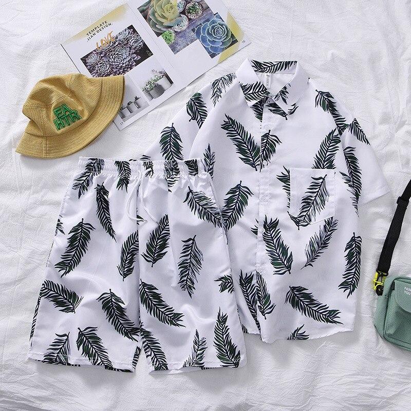 Sun-resistant Clothes Hainan Island Hawaii Loose-Fit Graffiti Printed Shirt Men's Travel Holiday Beach Shorts Couples Set